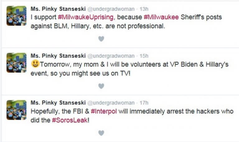 Hillary campaign worker Pinky Stanseski supports looting in milwaukee