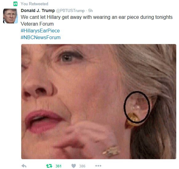proof of hillary's earpiece