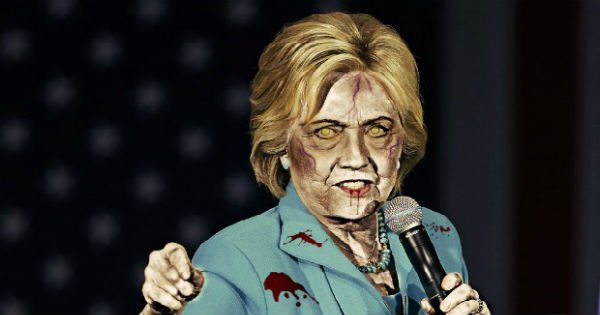 #zombiehillary Hillary Needs Help Climbing Up Two Steps