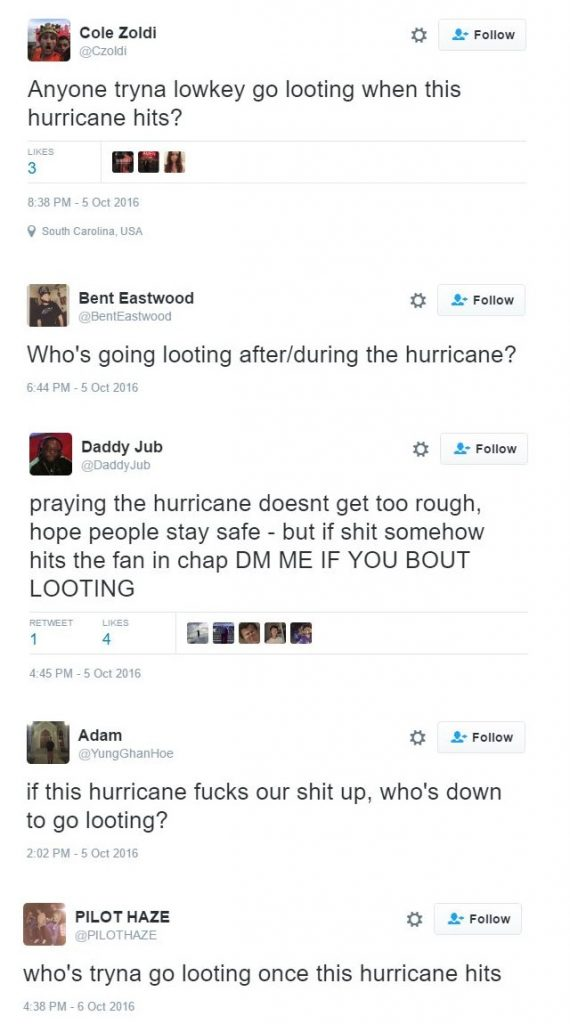 BLM Plans Looting During Hurricane Matthew