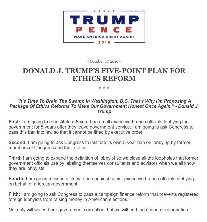 Trump Makes 5 Point Plan For Ethics Reform