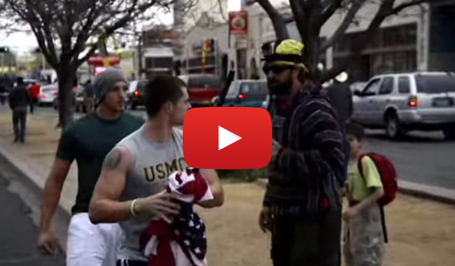 US Marines Take Care of Two Punks Who are Disrespecting the Flag, marxists, protesters