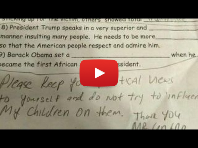 Daughter Gets Anti-Trump Assignment at School, Dad is furious