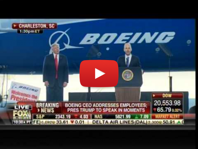 Boeing Employees Chant USA as Trump is Introduced