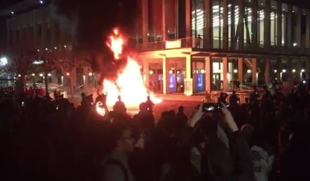 uc berkeley protests, fires, george soros