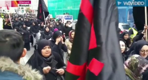 Muslims marching through Sweden in burkas, Malmo