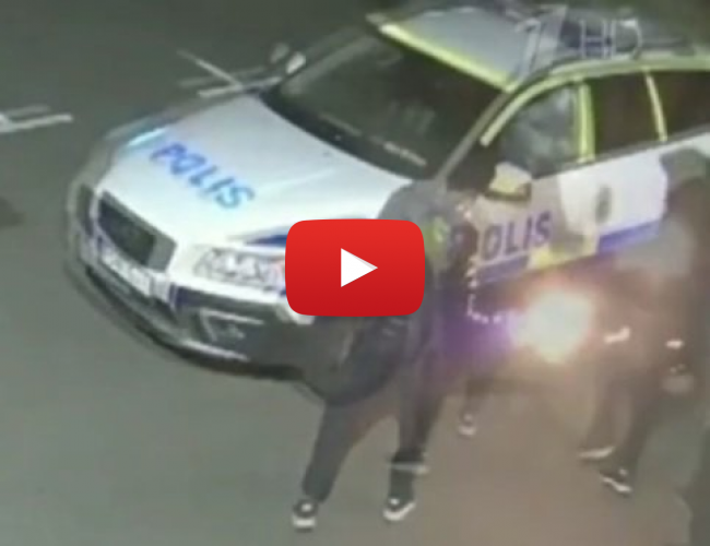 Footage of Migrants Torching Police Cars