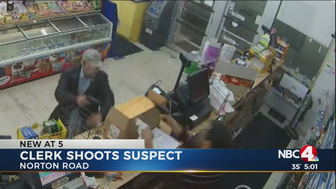 Armed Thug Tries to Rob a Convenience Store and the Cashier Brings the HEAT, Clerk shoots armed robber