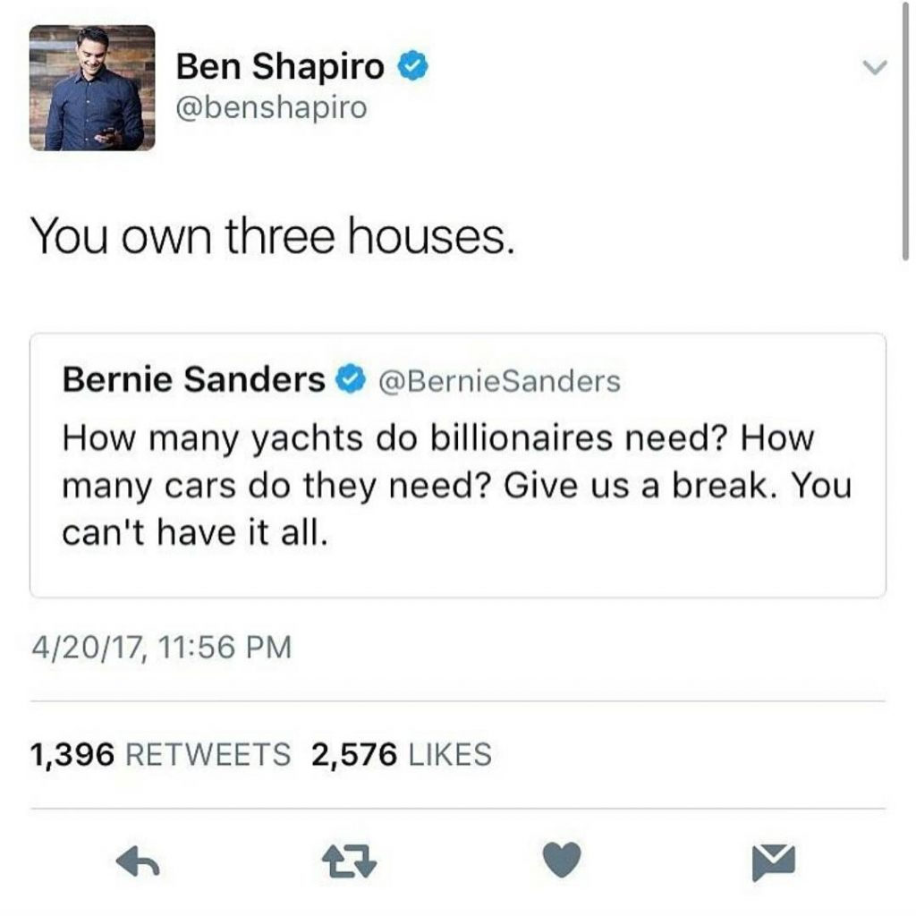 Bernie Sanders Tells Rich People, Mark Shapiro, Bernie owns 3 houses