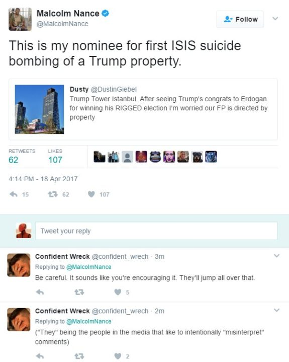 Malcolm Nance Called for ISIS, Bomb Trump Tower, Istanbul