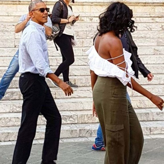 Michelle Obama at cathedral, strapless shirt