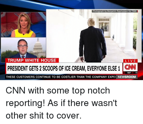 Desperate CNN Calls Out Trump for Getting Two Scoops of Ice Cream
