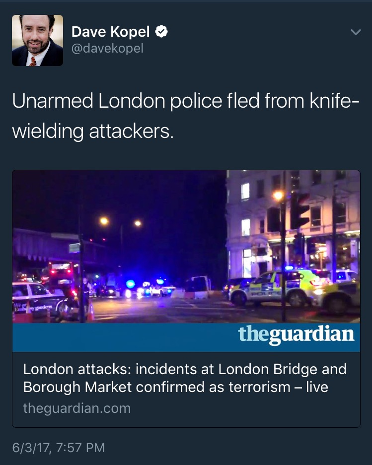 Unarmed London Police Run Away From Terrorists