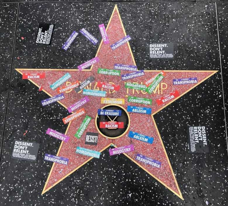 Trump Star on Hollywood Walk of Fame Vandalized by Gay Pride Activists