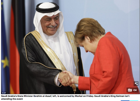 Merkel of Germany Bows to Saudi State Minister