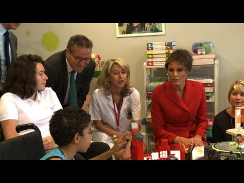 Melania Trump Wows Paris – Speaks French at Paris Hospital to Children – VIDEO