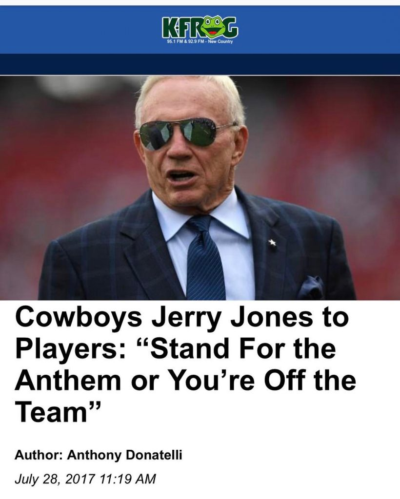 Jerry Jones to Cowboys Players