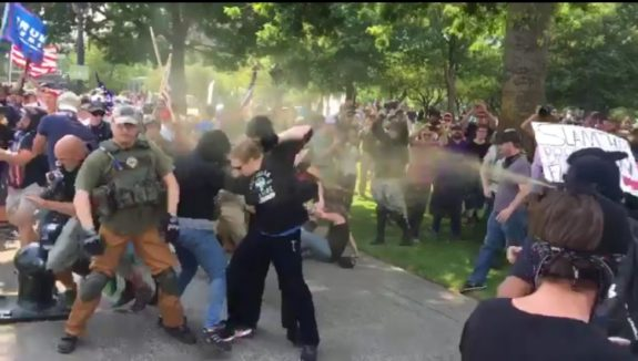 antifa thugs, pepper spray, fight, portland