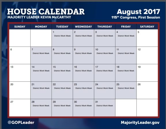 August vacation, house calendar 2017, paul ryan