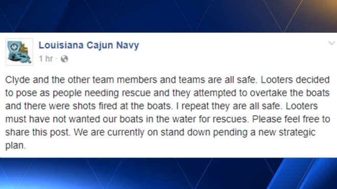 Looters Open Fire on Rescue Team For Hurricane Harvey, Cajun Navy
