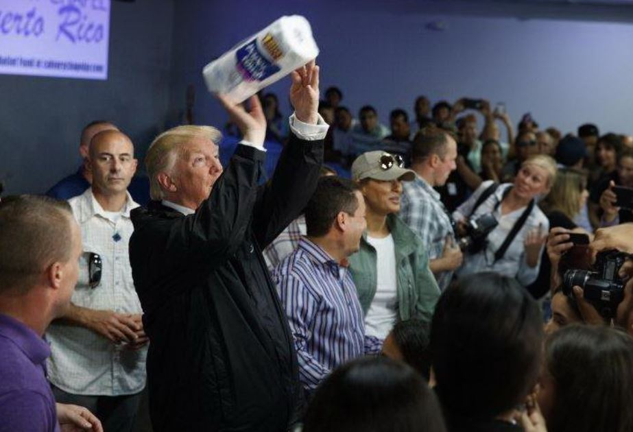 Swish! President Trump Makes It Rain Paper Towels In Puerto Rico