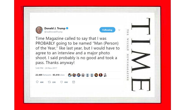 Trump Tweets The Left Into A Frenzy Again, Time Man of the year