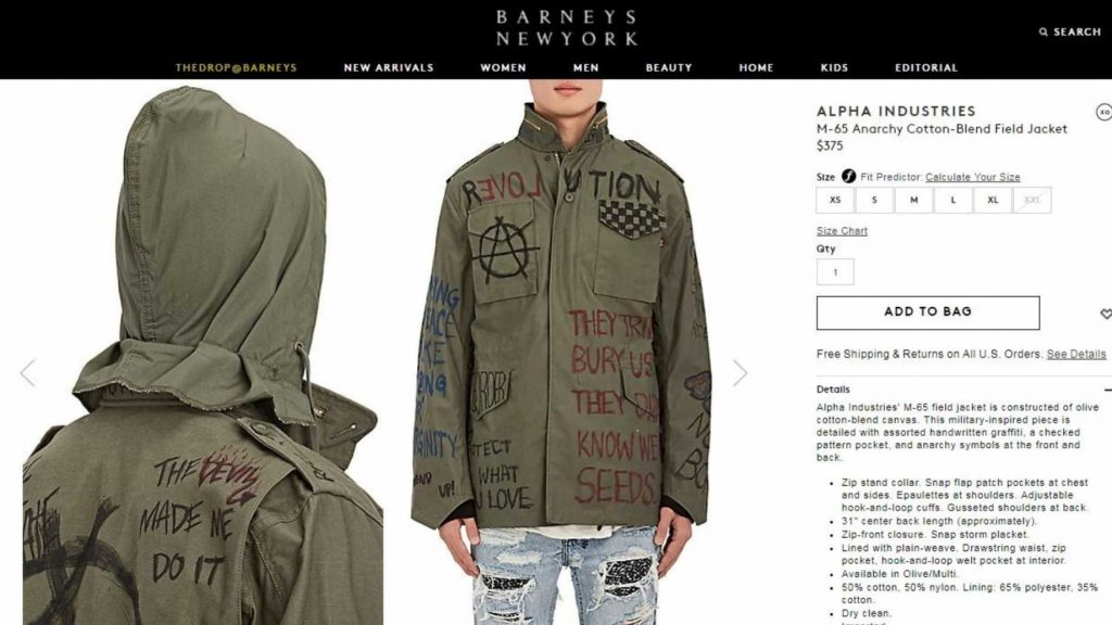 'Antifa Jacket' Goes On Sale At Barneys