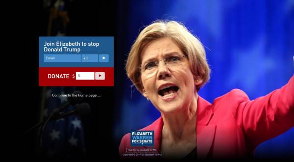 Pocahontas.com Redirects Visitors to Elizabethwarren.com