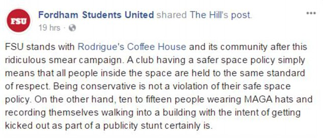 Fordham University Republicans Wearing MAGA Hats Kicked Out of Campus Coffee Shop