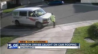 Amazon Delivery Driver Takes a Dump In Front Of Person's House And Takes Off