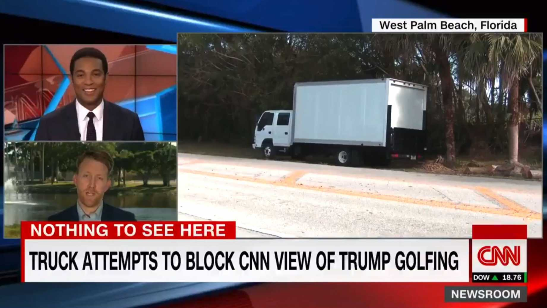 Box Truck Blocks CNN From Filming Trump Golfing, CNN Loses It