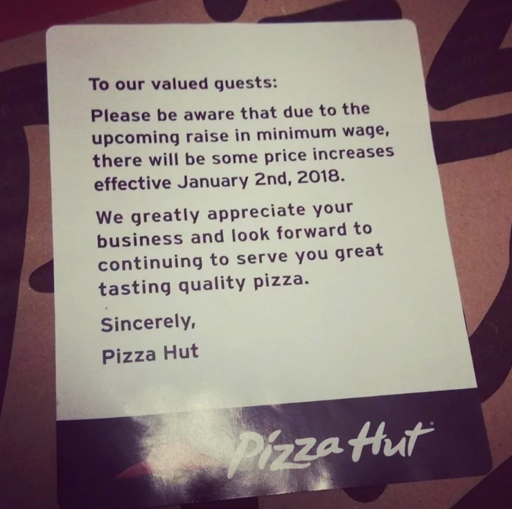 Canadian Province Ontario Raises Minimum Wage to $14/Hour, Ontario Pizza Hut