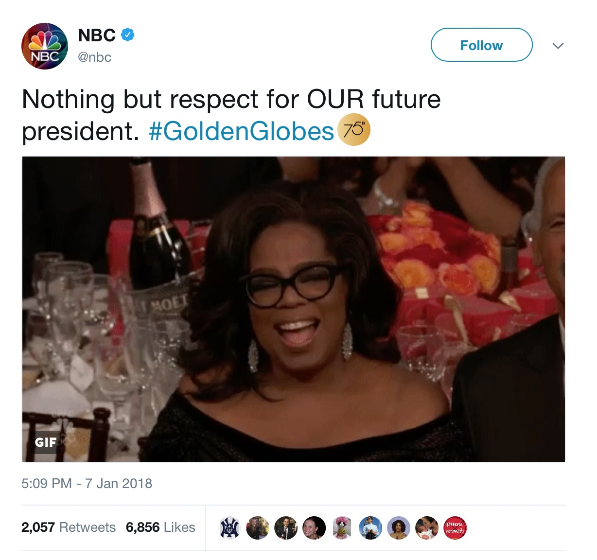 Oprah Winfrey Announces She's Running For President, NBC News Oprah tweet