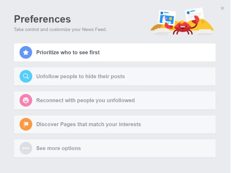 Pages in your newsfeed
