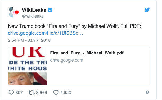 Wikileaks Released Entire 'Fire And Fury' Anti-Trump Book For Free