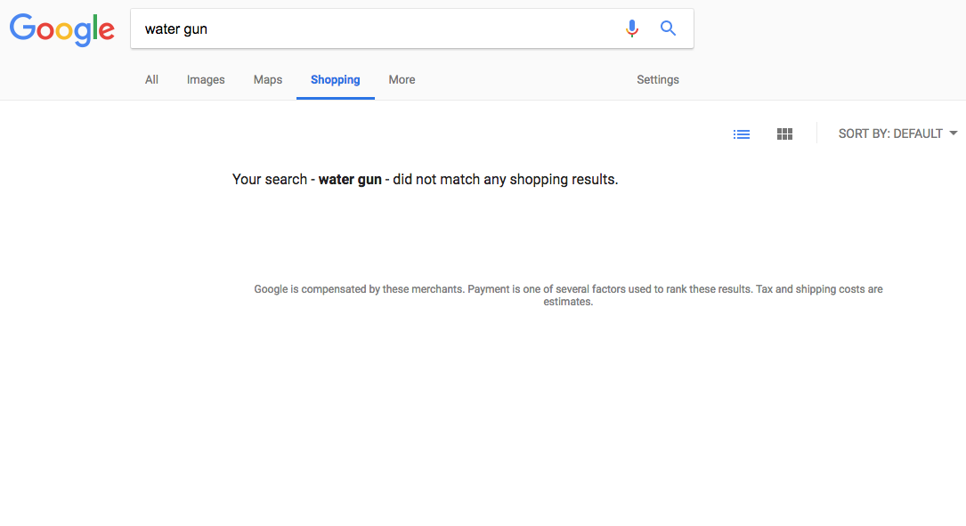 Google Removes All Shopping Search Results For Guns - Even Water Guns