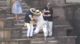 While In India Hillary Clinton Slips Down The Stairs Twice