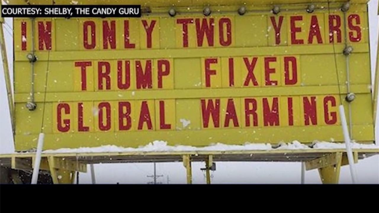 Store Sign trolls global warming