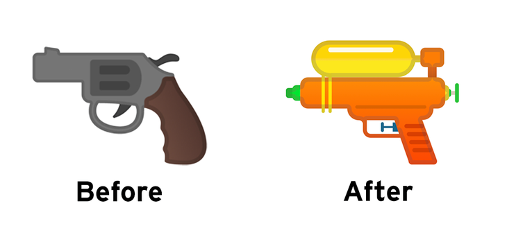 Google Changes Gun Emoji to Water Pistol