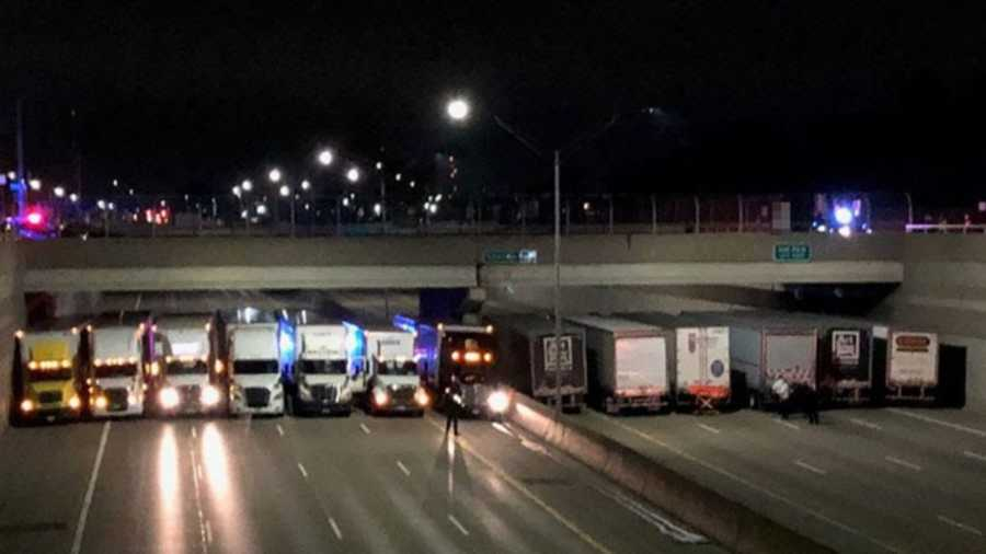 13 Semis Line Michigan Highway to Save Man Contemplating Suicide