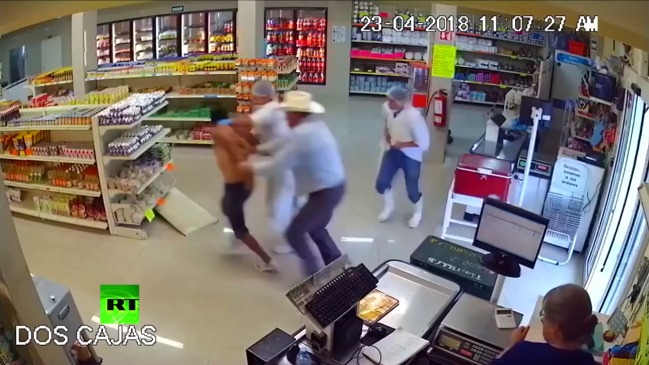 Store surveillance cameras caught an incredible moment. After a hero cowboy was held at gunpoint, he disarmed a would-be convenience store robber.
