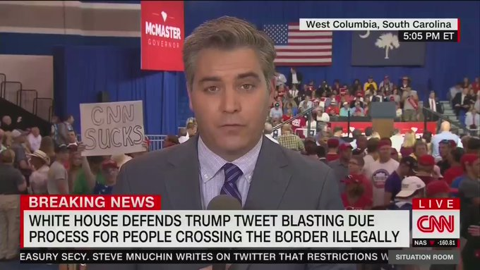 CNN's Jim Acosta, CNN sucks sign
