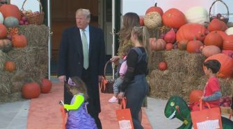 President Trump and First Lady Melania Make Spooky Entrance For Halloween at the White House