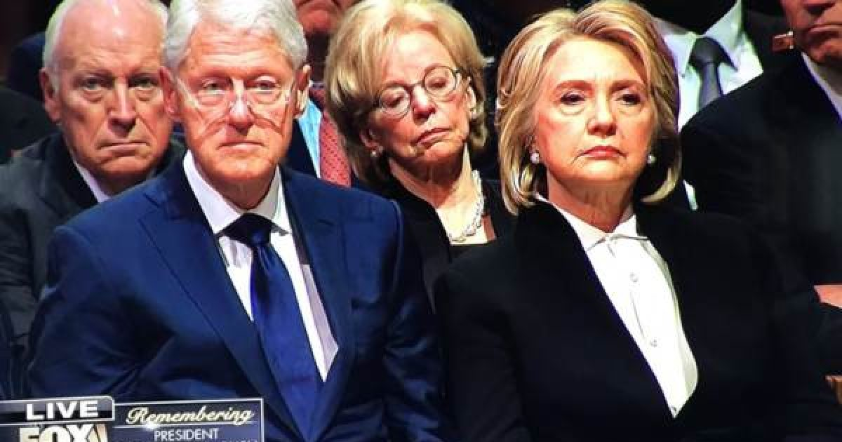 WATCH: The Look on Hillary Clinton's Face When President Trump and Melania Enter HW Bush's Funeral - Think Americana