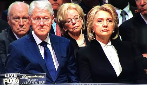 The Look on Hillary Clinton's Face When President Trump and Melania Enter HW Bush's Funeral