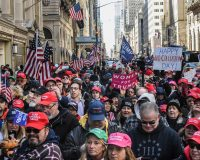 Trump Supporters Gather in New York to Celebrate 'Happy No Collusion Day'