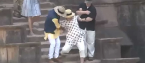 While In India Hillary Clinton Slips Down The Stairs Twice - VIDEO